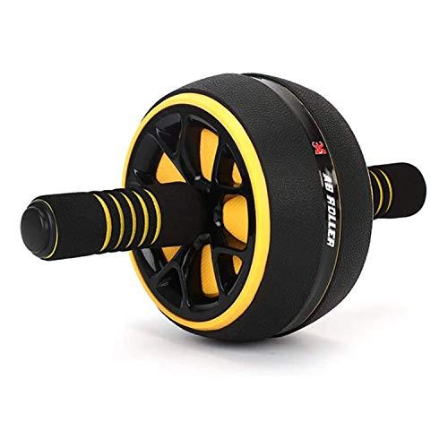 Fitness Zone - Rueda Abdominal Ab Wheel Roller | Entrenamiento para abdominales | Con alfombrilla antideslizante para Entrenamiento en casa (Amarillo)