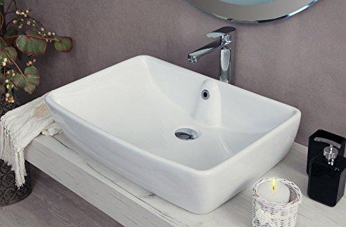 Yellowshop - Lavabo Da Appoggio Cm 59 x 42 Bacinella Lavandino Lavello Rettangolare In Ceramica Bianco Sanitari Bagno Design Moderno Modello Country