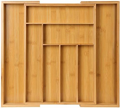 Pipishell Bamboo Expandable Drawer Organizer for Utensils Holder,...