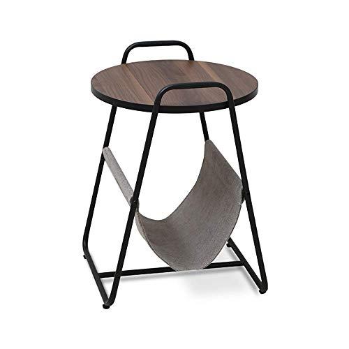 KANJJ-YU Mesa auxiliar redonda moderna, mesita de noche con almacenamiento de bolsa, marco de metal resistente, diseño de pie ajustable, fácil montaje, para sala de estar, dormitorio y sofá