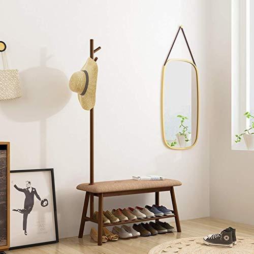 LIPENLI Brown multiuso perchero Inicio Zapatos de heces Porche moderna simple percha piso dormitorio Percha 83.5x34x164cm montaje en la pared del estante