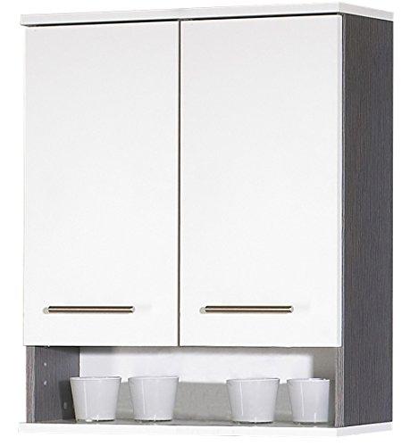 lifestyle4living Oberschrank mit Korpus in Esche grau Dekor und Fronten in weiß, mit 2 Türen, 1 Einlegeboden und 1 Nische, Maße: B/H/T ca. 60/70,5/20,5 cm