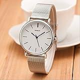 Neue berühmte Markensilber Casual genf Quarzuhr Frauen Metall Edelstahlgewebe Kleid Uhren Relogio feminino Uhr ( Farbe : Silber , Großauswahl : Einheitsgröße )