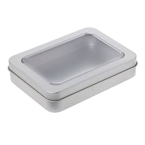 SimpleLife Claro Ventana Superior Caja de Lata metálica Caja de Almacenamiento de Plata en Blanco Manualidades Kit de Supervivencia, 11.5x8.5x2.2cm
