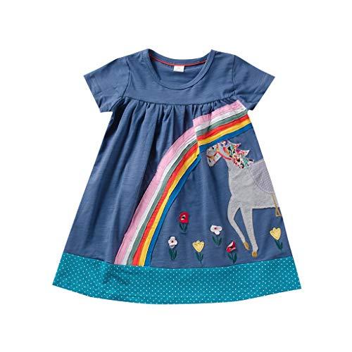 Vestido Casual De NiñA De Dibujos Animados Mezcla De AlgodóN De Manga Corta De Verano Vestido Informal con Estampado De Ponis ArcoíRis Lindo Vestido De Princesa Falda De Playa(Azul,2-3 años)
