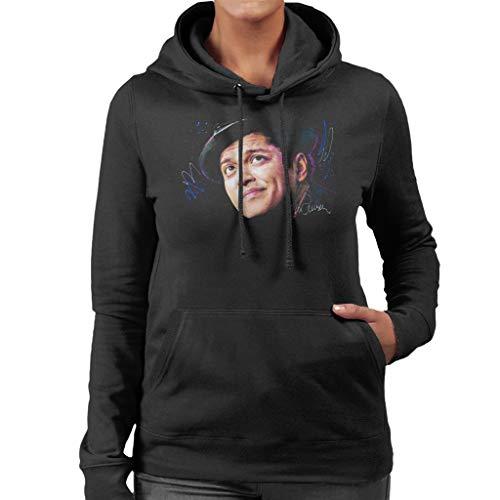 VINTRO Damen Kapuzenpullover Bruno Mars Hat Original Portrait by Sidney Maurer Professionell Bedruckt Gr. XL, Schwarz