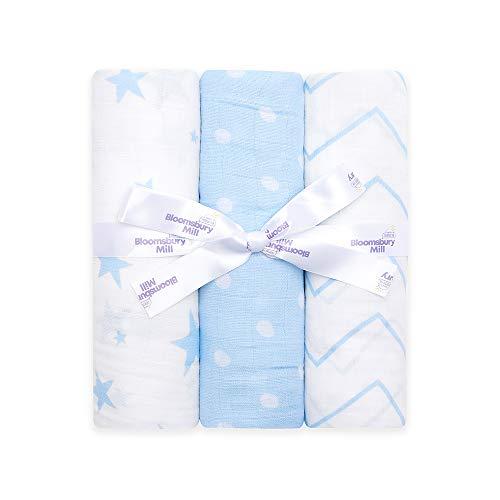 Bloomsbury Mill - Mantas de muselina de alta calidad – 100% Algodón Orgánico Puro Estampado de Estrellas, Espiga y Lunares - Azul y Blanco - 120 cm x 120 cm - Juego de 3