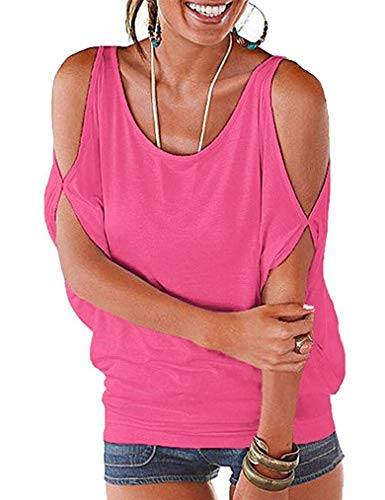 Tie Open Back Tops for Women,O-Neck Cold Shoulder Shirts Blouse(XL, Pink)