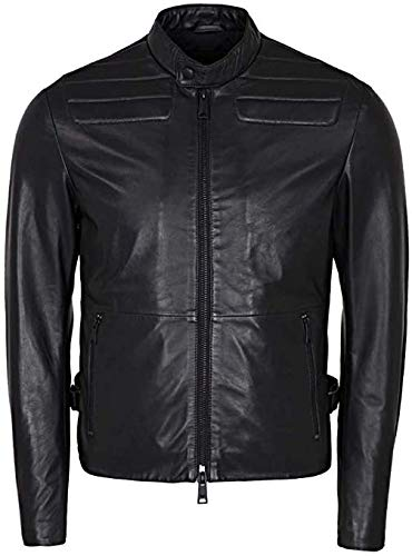 Emporio Armani Men's Designer Leather Jacket, Nero, 56