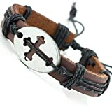 Soul Statement Cross Bracelet for Men Adjustable Leather...