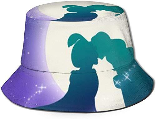 Romance-and-Beauty Lamp Love Story Print Bucket Hat Pescador Pesca Gorra para el Sol para Mujeres Viajes