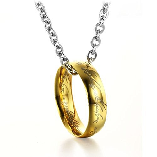 NEEVAS 316L Stainless Steel Men's Jewelry Movie Lord of The Rings Pendant Ring Necklace (Gold)