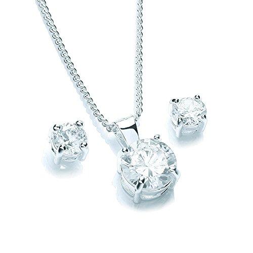 Buckley London Damen-Schmuckset Halskette + Ohrringe Messing rhodiniert Zirkonia weiß Rundschliff - 430000003