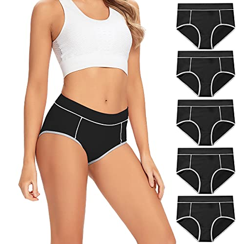 POKARLA Women's Cotton Stretch Underwear Ladies Mid-high Waisted Briefs Panties 5-Pack