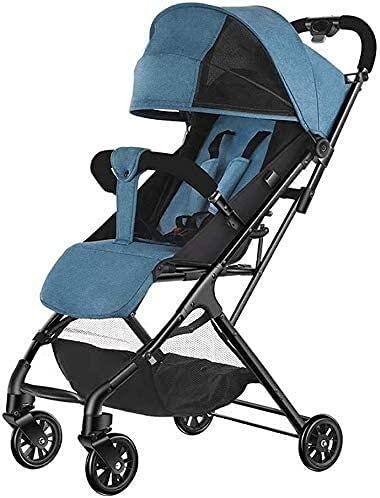 Cochecito de bebé recién nacido liviano Viaje por silla para niños pequeños, cochecito de cochecito plegable compacto con luz de nacimiento a 25 kg (Color : Blue)