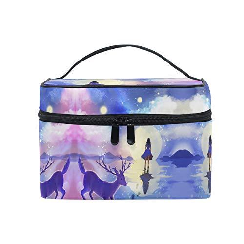 Fille Violette Wapiti Lune Trousse Sac de Maquillage Toilette Cas Voyage Sac Organisateur Cosmétique Boîtes pour Les Femmes Filles