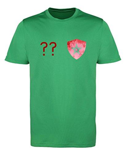 Comedy Shirts - Marokko Trikot - Wappen: Klein - Wunsch - Herren Trikot - Grün/Rot Gr. 3XL