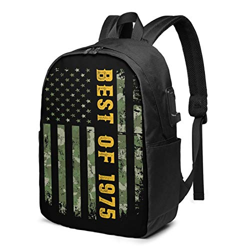 Best of 1975 American Flag Backpack Carry On Bags Laptop Backpack for Travel School Business 17 Inches