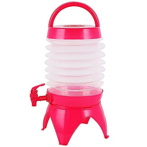 MZEHRAY Dispensador Bebidas Plegable,Contenedor Transporte Agua Plegable Telescópico Portátil 5L con Mango Grifo Base Resistente,Cubo De Bebida De Agua para Caravanas Al Aire Libre Camping,Pink