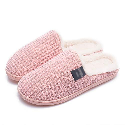 Zapatillas de Casa Inicio Algodón Zapatillas Femenino Otoño e Invierno Inicio Pareja Interior Calor Peluche Masculino Invierno Antideslizantes Zapatillas (Color : D, Size : 38/39)