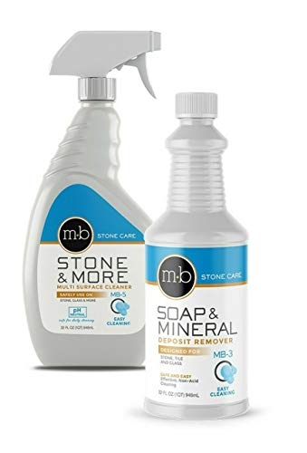 MB Stone Care Soap and Mineral Kit MB-5 Multi-Surface Cleaner and MB-3 Soap and Deposit Remover Ready to Use Bundle- for Cleaning (1Quart / 32FL OZ)