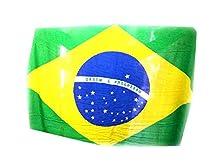 Generico Pareo Mare Bandera Brasil flor de algodón rayón, 165 x 120 cm con flecos de regalo amuleto llavero cuerno