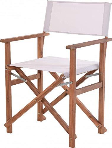 Klappstuhl Gartenstuhl aus Akazien-Holz Regie-Stuhl Faltbar Campingstuhl Balkonstuhl Stoff-Sitz V310