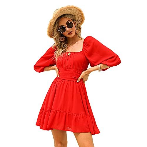 Exlura Women's Lantern Sleeve Tie Back Dress Ruffled Off Shoulder A-Line Vintage Mini Dress Red