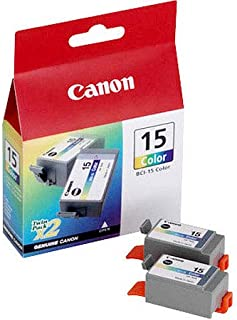 Canon BC-15 Yellow/Cyan/Magenta Color Cartridge for 170/180 Inkjet Printers-2-pack