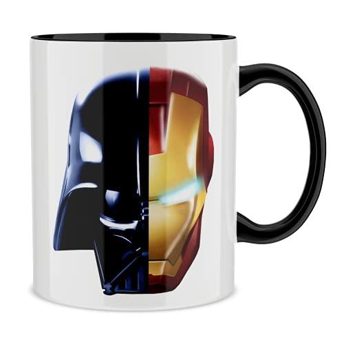 OKIWOKI Taza con asa Negra e Interior Negro Parodia de Star Wars - Iron Man- Darth Vador, Iron Man y Daft Punk (Taza de Primera Calidad - Impresa en Francia - Réf : 657)