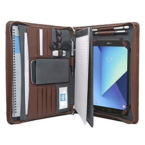 "Tablet Portfolio Case with Notepad Holder, Zippered Leather Portfolio Folder Case for Galaxy Tab S4 10.5"" /Galaxy Tab S5e / Galaxy Tab S6 10.5"""