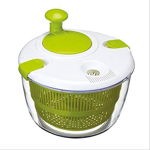 Centrifugadora de ensalada de 5 litros, centrifugadora de lechuga y secadora de vegetales, fácil de limpiar, fácil de girar, base antideslizante, mango giratorio compacto y tapa...