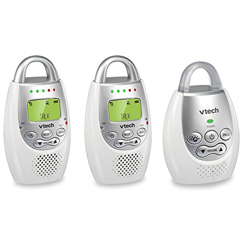 VTech BA72212GY Audio Baby Monitor with up to 1,000 ft of Range, Vibrating Sound-Alert, Talk Back Intercom & Night Light Loop with 2 Parent Units