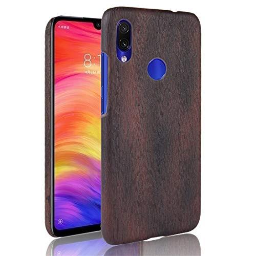 Weeksu Funda Protectora Good Wood Texture PC + PU for Xiaomi Redmi Note 7 (Negro) (Color : Brown)
