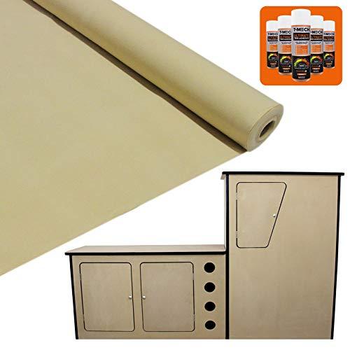 Voordelige Bundel: Bekleding Bedrijfwagen 11m2 (Kleur:Tarwe) & MDF Camper Keuken Blok - GRATIS 5 spuitbussen lijm - Interieur - inrichting - bekleden