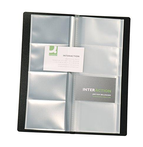 Visitenkartenbuch schwarz für 160 Karten Mappenformat ca. (BxH): 11,0 x 26,0 cm, für Visitenkarten 9,0 x 5,7 cm. Kunststoffmaterial mit glatter Oberfläche und fest eingeschweißten transparenten Hüllen