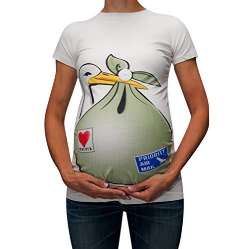 Yying Cuello Redondo Mujer Embarazada Camisa Pato Divertido Estampada Ropa Premamá Suave Elasticidad Camiseta Ropa de Embarazo