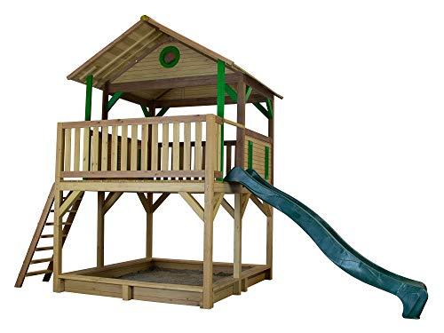 Beauty.Scouts Holzspielhaus mit Veranda + Leiter + Rutsche + Sandkasten Tadeo 212x432x293cm Holz in braun Kinder Kinderspielhaus Holzhaus Stelzenhaus Unterstand