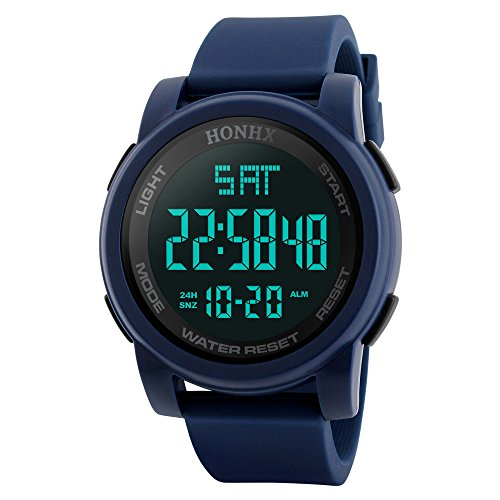 Men's Digital Watch Large Face LED Wrist Watches Military Sports Electronic Waterproof Outdoor Stopwatch (Blue -1)