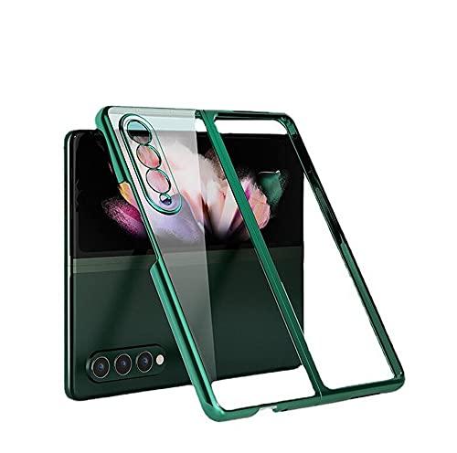 Galaxy Z Fold3 5G ケース SC-55B背面ケース ハードケース クリア ケース 衝撃吸収 薄 メッキ 透明 SCG11背面カバー 全面保護 Galaxy Z Fold3 カバー ZFold3-DD-20813 (シルバー)