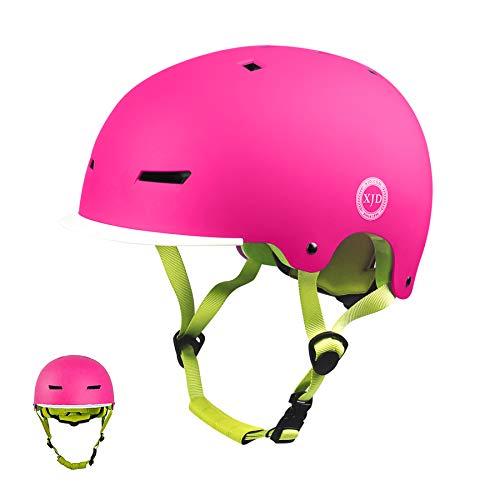 XJD Casco Bicicleta para Niños Ajustable con Certificación CE Resistencia al Impacto con Visera Extraíble para Ciclismo Monopatín Patines sobre Rueda para niños de 3 a 13 años (Rosa M)