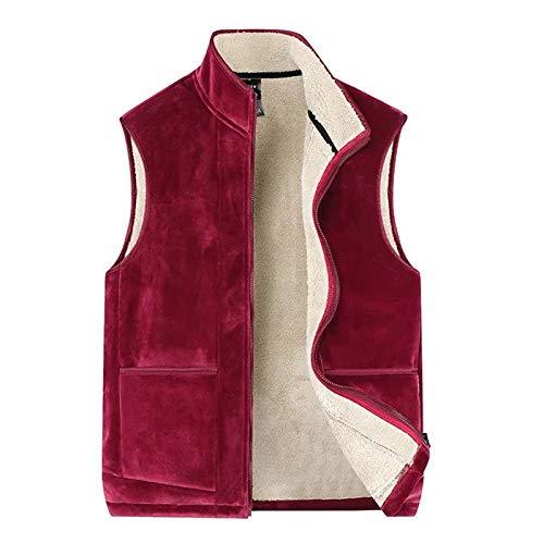 LDMB Collar de pie más chaleco de terciopelo unisex al aire libre cálido más tamaño chaleco chaqueta pesca senderismo deportes abrigo, rojo, XL