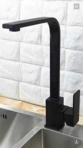Loodloze Kraan Keukenkranen, Spoelkranen, Badkamer en Keuken Installatie, wastafelkranen, Badkamer SUS304 RVS Keukenspoelbak kan worden gedraaid Zwart Vierkant warm en Koud Kraan 552