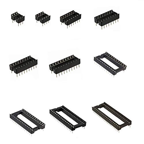 MOONLIGHT IC Socket Kit 10 values 6 8 14 16 18 20 24 28 32 40Pin Total 105pcs Adapter Solder Type 2.54mm DIP for IC Transistor