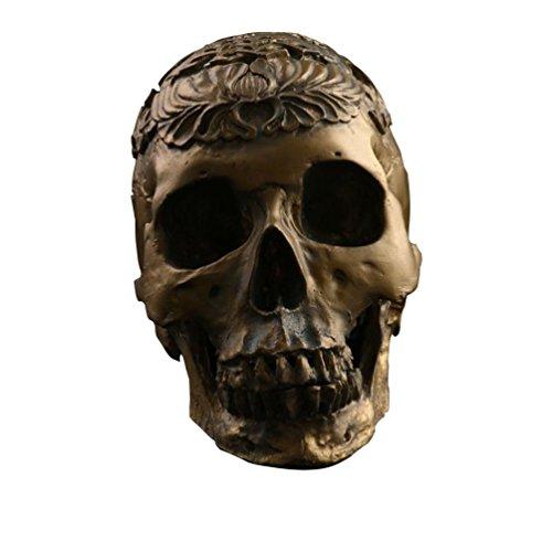 JIUQING têtes sculptées décoratives halloween decoration maison skull crane art déco Or