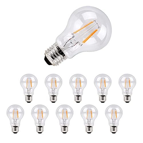 Metrix Bombilla de filamento LED E27, 6 W, 660 lúmenes, luz blanca cálida, de bajo consumo, 3000 K, equivalente a 60 W, 10 unidades