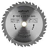 Wolfcraft 6739000 1 Lame de Scie Circulaire Ø 160 Mm, Ct, Alésage 16 Mm, 20 Dents, Surface Poncée, Denture Sablée Et Alternée argent