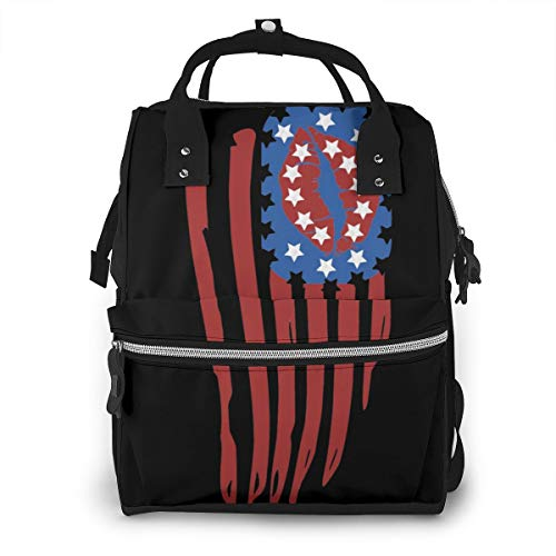 Iop 90p Lips Clipart American Flag Multi Function Travel Mummy Backpack Diaper Bag Shoulder Bag
