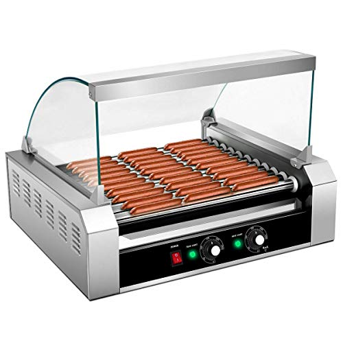 Hot dog grill commercial 11 roller 30 cooker machine stainless steel with cover ce