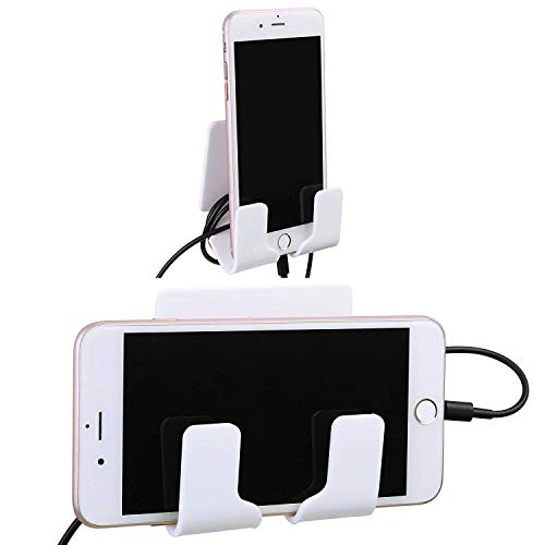 TXEsign Adhesive Wall Phone Holder Mount for Smartphones iPhone External Battery Wall Holder Mount (White)
